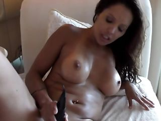 Big-tittied Latina Thumbs Rectum And Caresses Vag With Wand