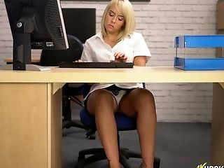 Nasty Assistant Millie Fenton Shows Upskirt In The Office