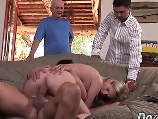 Blonde Housewife Aimee Addison's Hubby Sees Her Get Railed By A Stud