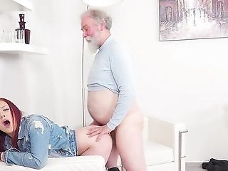 Youthfull Sandy-haired Attempts Senior Dick In Her Fresh Cunt