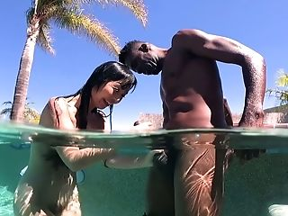Crazy Asian Dark-haired Gf Marica Hase Gives Bj To Black Stud Outdoors
