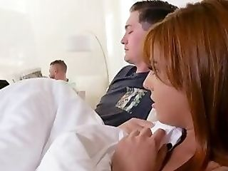 Scarlett Mae Oral Jobs Stepbro In Discreet While Dad Reads