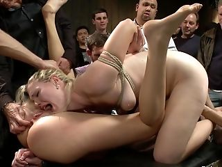 Platinum-blonde Hair Chick And Ginger-haired Culo Orgy Copulated In Public