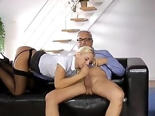 Youthful Uk Stunner Tugging Oldmans Dong