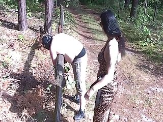 Lady Vamp Fucks In Booty Her Bottom Outdoor With Strap-on